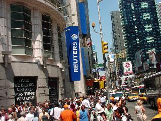 Busy New York City Street with people and traffic