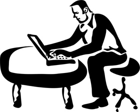 man sitting workon on laptop computer low back pain clipart