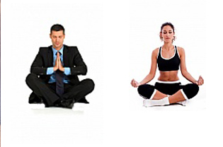 business man and woman meditating
